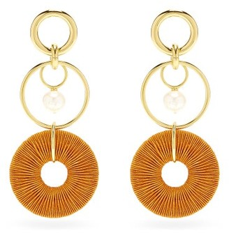 Lizzie Fortunato Santa Ana Pearl & Gold-plated Drop Earrings - Orange