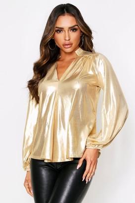 boohoo Balloon Sleeve Metallic Oversized Shirt