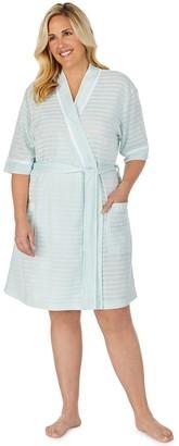 Stan Herman Plus Size Textured Stripe Kimono Wrap Robe