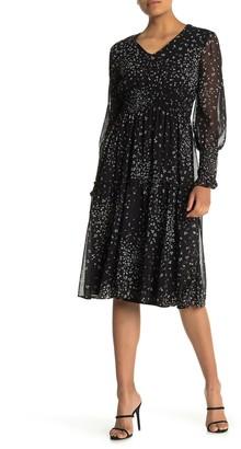 Taylor Dot Print Ciffon Smocked Waist Dress (Petite)
