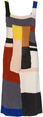 Eckhaus Latta Colour-Blocked Wool-Knit Dress