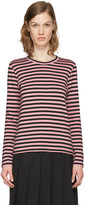 Comme des Garcons Pink Striped Long Sleeve T-shirt