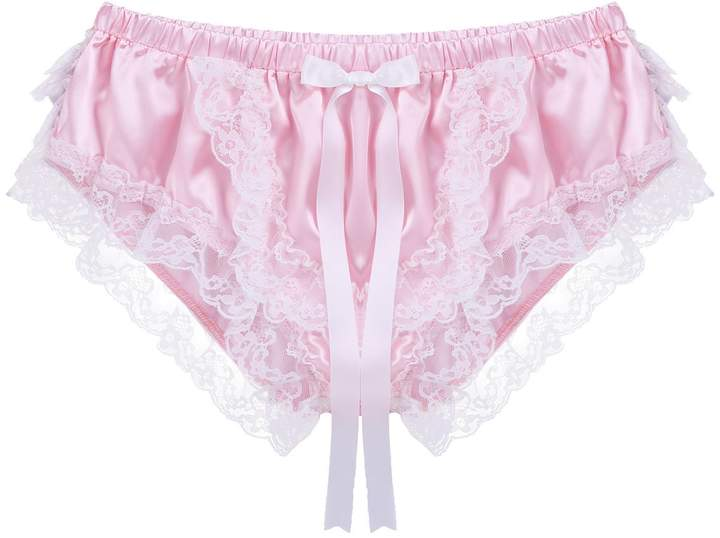 ba847a94162 Clothing inhzoy Mens Shiny Frilly Ruffles Satin Lace Underwear Briefs Sissy  Pouch Crossdress Skirted Panties