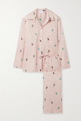 POUR LES FEMMES Printed Cotton-voile Pajama Set - Baby pink
