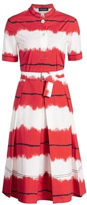 Piazza Sempione Pictoral Stripe Fit-&-Flare Belted Dress