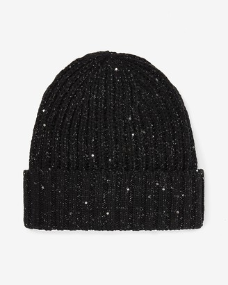 Express Sequin Embellished Ribbed Beanie