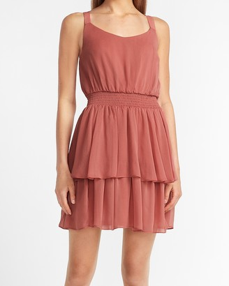 Express Tiered Ruffle Fit And Flare Dress