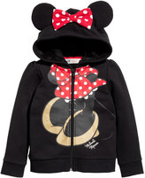 H&M Hooded Jacket with Appliqués - Black/Minnie Mouse - Kids
