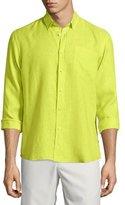 Vilebrequin Caroubier Linen Long-Sleeve Shirt, Green