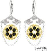 Lucia Costin Chandelier Earrings Made of .925 Sterling Silver with 24K Yellow Gold Plated over .925 Sterling Silver with White and Black Swarovski Crystals, Designed with Delicate Central Flowers and Falling Chains; Handmade in USA