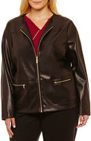 Liz Claiborne Faux Leather Jacket-Plus