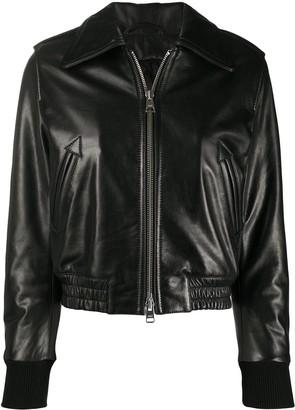 AMI Paris Zipped Leather Jacket
