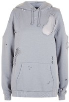 Topshop Women's Distressed Cold Shoulder Hoodie