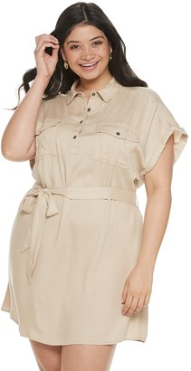 So Juniors' Plus Size Short Sleeve Utility Dress
