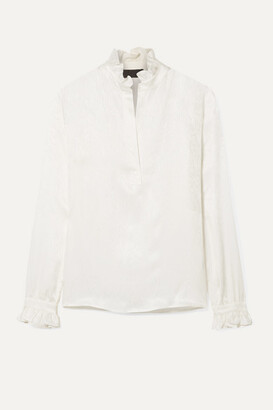 Nili Lotan Esther Ruffled Silk-satin Jacquard Blouse - Ivory