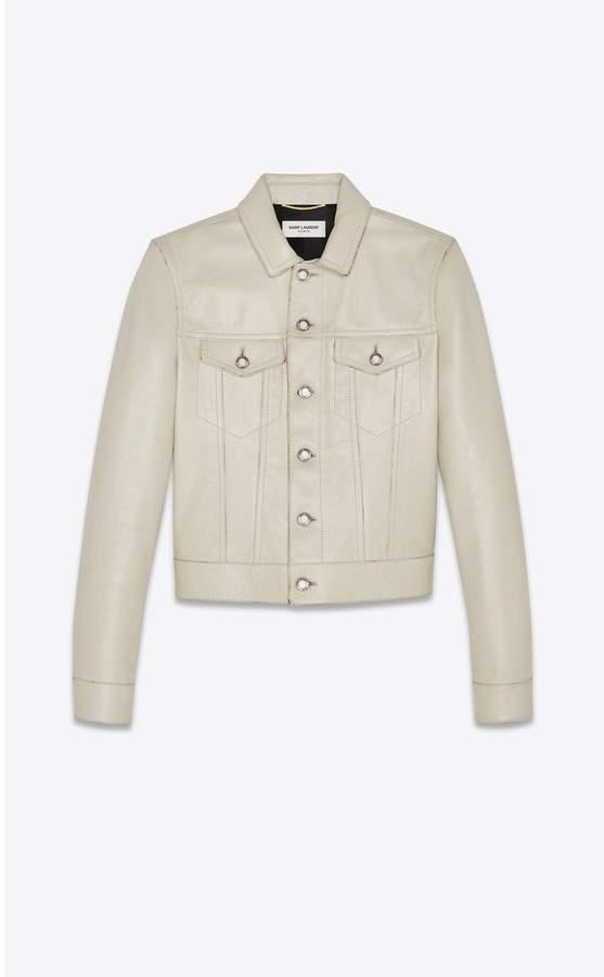 Saint Laurent Denim Jacket In Vintage Leather