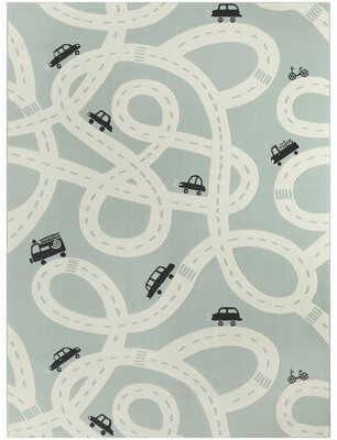"""Zoomie Kids Petrarch Road Trip Green Area Rug Rug Size: Rectangle 3'11"""" x 5'7"""""""