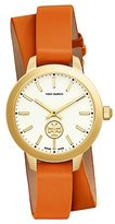 Tory Burch Collins Double-Wrap Watch, Orange Leather/Gold-Tone, 32 Mm