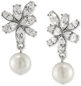 Carolee Silver-Tone Imitation Pearl and Crystal Drop Earrings