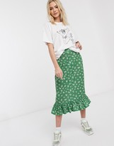 Daisy Street midi slip skirt with frill hem in ditsy floral