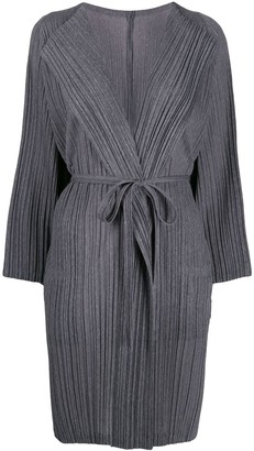 Pleats Please Issey Miyake belted pleated coat