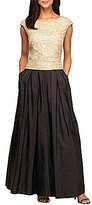 Alex Evenings Petite Cap Sleeve Scallop Detail Ballgown