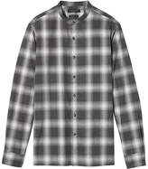 Banana Republic Grant Slim-Fit Flannel Banded-Collar Plaid Shirt