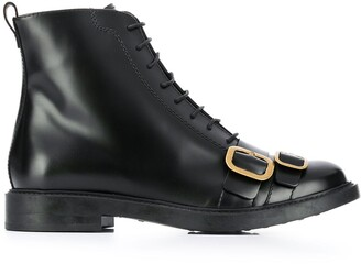 Tod's Lace Up Ankle Boots With Buckle Detailing