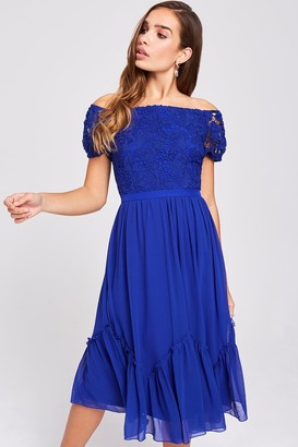 Little Mistress Sian Cobalt Crochet Bardot Midi Dress