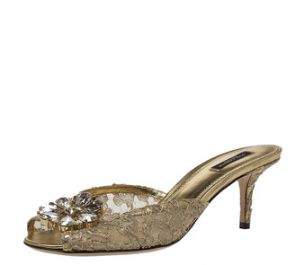 Dolce & Gabbana Metallic Gold Lace And Leather Crystal Embellished Slide Sandals Size 40