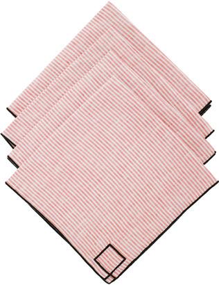 Los Encajeros Set-Of-Four Red Striped Linen Napkins