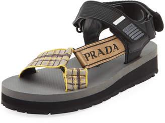 Prada Plaid Sport Knit Sandals