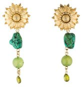 Stephen Dweck Peridot, Chalcedony & Turquoise Sunflower Clip-On Earrings