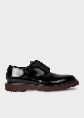Paul Smith Men's Black Leather 'Mac' Derby Shoes With Bordeaux Soles