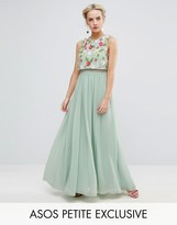 Asos 3D Floral Embellished Crop Top Maxi Dress