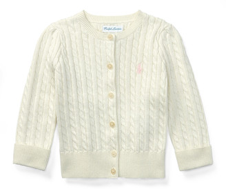 Ralph Lauren Kids Cable Knit Cotton Cardigan, Size 3-12 Months