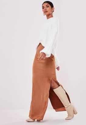 Missguided Rust Satin Side Split Maxi Skirt
