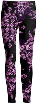 Lily Women's Leggings BLK - Black & Purple Damask Leggings - Women & Plus