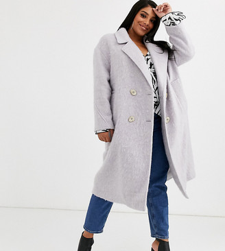 ASOS DESIGN Curve statement coat with hero buttons in lilac