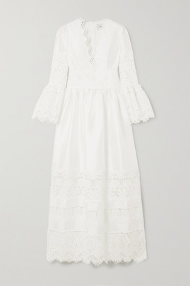 Erdem Irmina Corded Lace-trimmed Mikado Gown - White