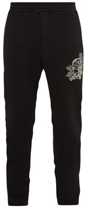 Alexander McQueen Skull-embroidered Cotton-jersey Track Pants - Mens - Black Multi