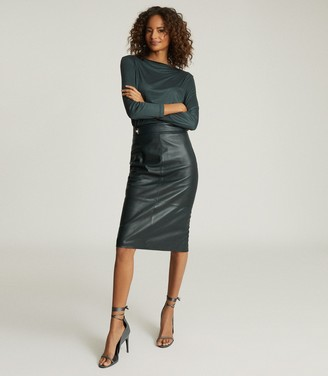 Reiss KALI LEATHER PENCIL SKIRT Green