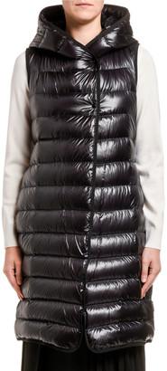 Moncler Noisette Long Puffer Vest w/ Hood