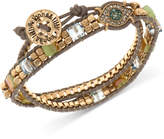 lonna & lilly Gold-Tone Crystal & Bead Evil Eye Wrap Bracelet
