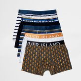 River Island Mens Blue nautical boxers pack