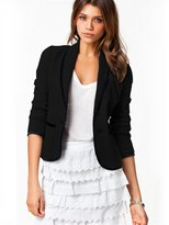 Hittime Lady Casual Office Commuting Long Sleeve Button Blazer Suit Jacket M