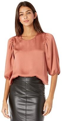 BB Dakota Sleeve Me in Charge Blouse (Terracotta) Women's Clothing