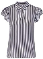 Banana Republic Stripe Ruffle-Sleeve Keyhole Polo