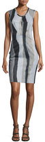 Yigal Azrouel Sleeveless Printed Sheath Dress, Jet/Multi