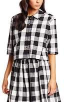 PepaLoves Women's Crop Black/White Jacket,L